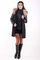 Пальто жилет с енотом Т 32 чёрное