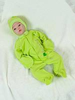 Комбинезон утепленный с чепчиком для новорожденных салатовый р.56