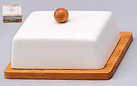 Масленка фарфоровая с бамбуковой подставкой Naturel 13.5см