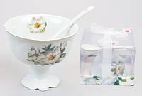Набор: креманка фарфоровая с керамической ложкой Белый цветок