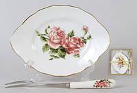 Набор: тарелочка с десертной вилкой Корейская роза, 15см