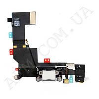 Шлейф (Flat cable) iPhone 5S с гнездом на зарядку,   гнездом на наушники,   микрофоном черный