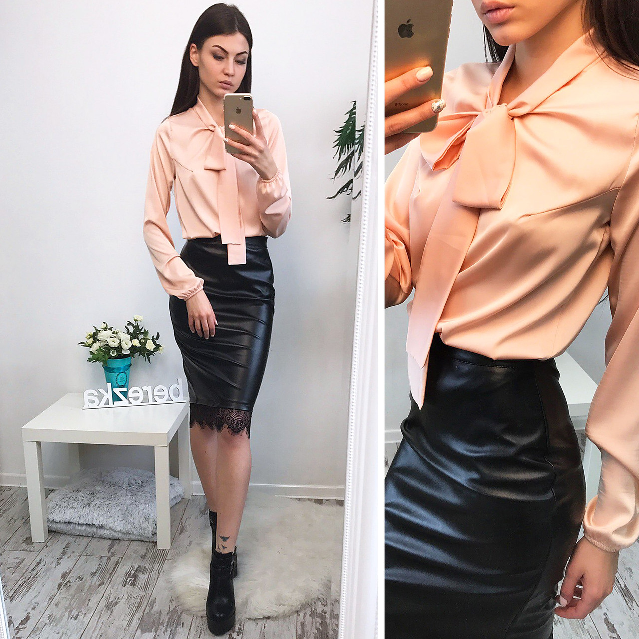 Женский юбочный костюм,кожаная юбка + блуза шелк,разные цвета!, цена ... a509a465b42
