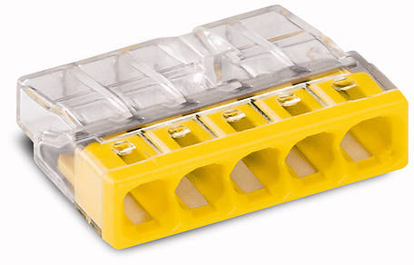 Соединитель WAGO COMPACT PUSH WIRE® для распределительных коробок, 5-проводная клемма, фото 2