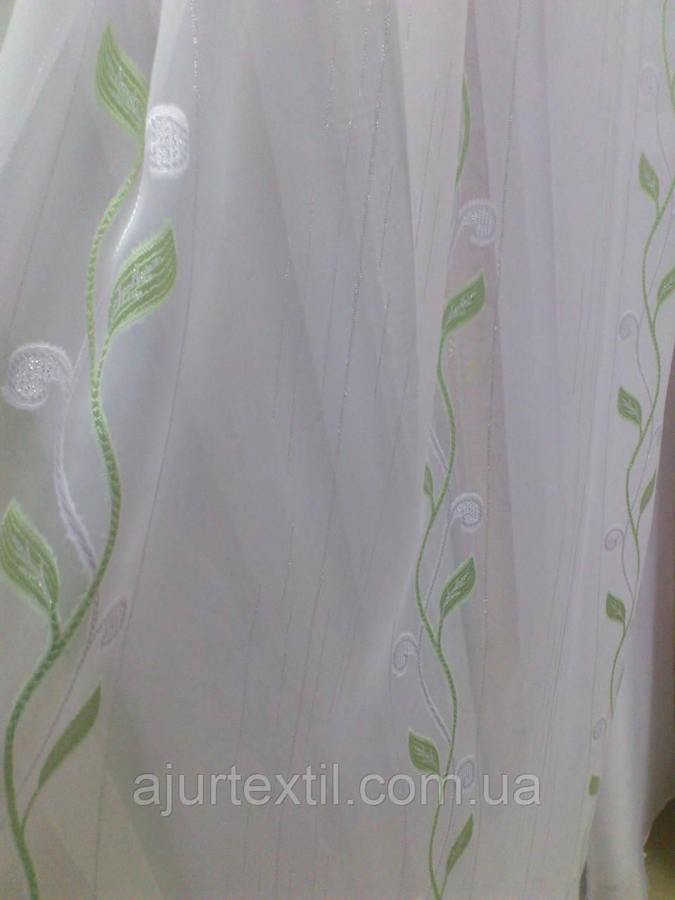 """Тюль вуаль фентези """"Плетение"""" зеленый"""