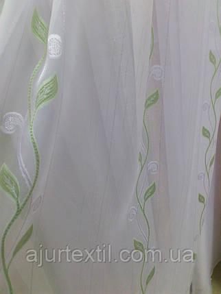 """Тюль вуаль фентези """"Плетение"""" зеленый, фото 2"""