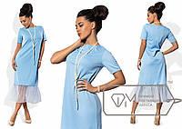 Платье миди прямое из французского трикотажа с коротким рукавом и оборкой из евросетки по подолу 8452