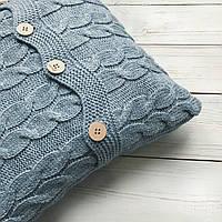 Подушка декоративная Ohaina на пуговицах вязаная в косы 40х40  цвет голубая пудра