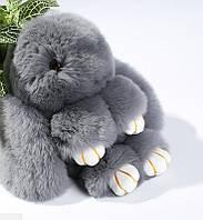 Меховой брелок Кролик ( серый )