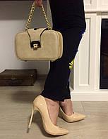 Элегантные женские лаковые туфли-лодочки на каблуку 11 см, цвет бежевый