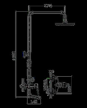 IMPRESE WITOW душевая система (смеситель для ванны, верхний и ручной душ), фото 2