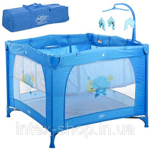Двухуровневый детский манеж Bambi G400-4 (синий)