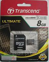 Карта памяти Transcend microSD 8GB class 10 + SD