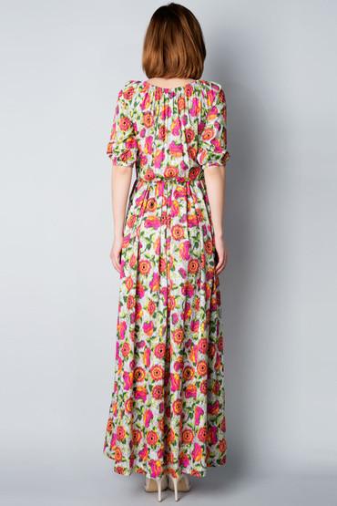 Платье в пол из цветного котона П185