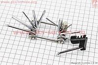Ключ-набор 12предметов (шестигранники 2,2.5,3,4,5,6,8мм, отвёртки прямая и фигурная, Т25 ключ-звездочка, выжимка цепи, лопатка), KL-9835