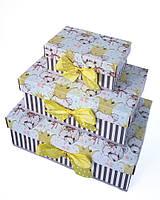 Прямоугольный подарочный комплект коробок ручной работы с няшными мишками в коронах