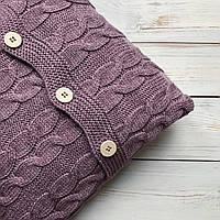 Подушка декоративная Ohaina  на пуговицах  вязаная в косы 40х40  цвет темная лаванда