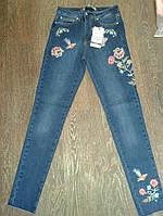 Женские джинсы с цветочной вышивкой, высокой посадкой