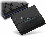 Черный маленький функциональный мужской кошелек из натуральной кожи Pierre Cardin