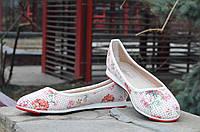 Балетки, туфли женские легкие и удобные с цветочным принтом 2017
