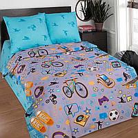 Подростковое полуторное постельное белье с простыней на резинке 90*200*25, Тинейджер, поплин