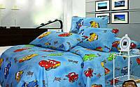 """Детское постельное белье """"Тачки"""" на синем фоне бязь"""