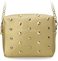11-22 Золотистая маленькая женская сумочка на цепочке с заклепками Udaberri