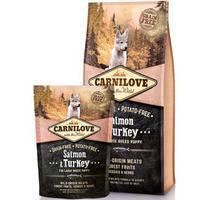 Сухой корм Carnilove Puppy Salmon & Turkey Large Breed для щенков. Беззерновой 1.5 кг.