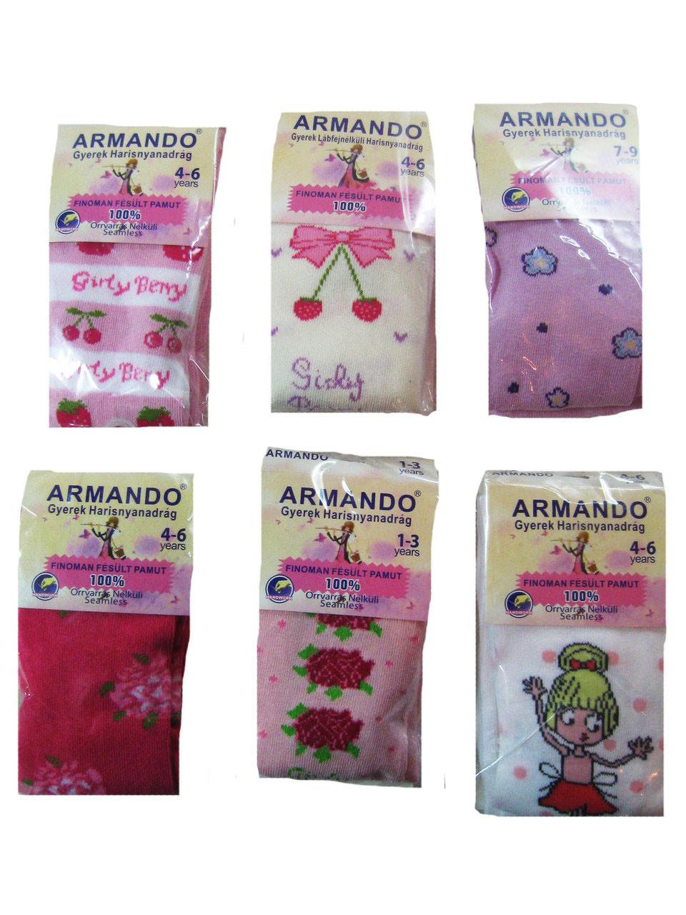 """Колготы для девочек """"Armando"""" c рисунком, хлопок 100%, размеры 1/3-10/12 лет, арт. 863"""