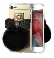 Зеркальный золотой чехол с черным пушистым хвостиком для Apple Iphone 7
