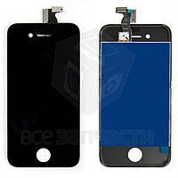 Дисплей  iPhone 4, черный, с сенсорным экраном, с рамкой, high-copy