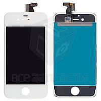 Дисплей  iPhone 4S, белый, с сенсорным экраном, с рамкой, high-copy