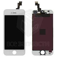Дисплей  iPhone 5S, белый, с рамкой, с сенсорным экраном, high-copy
