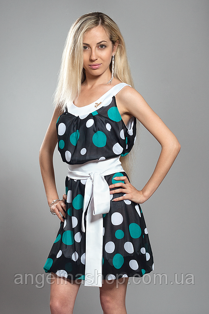 Платье женское мод №413-3, размеры 42-46 бир. горох