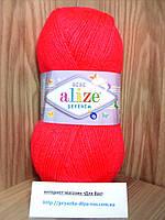 Детская пряжа(100%-акрил,100г/320м) Alize Sekerim  bebe 288(коралловый неон)