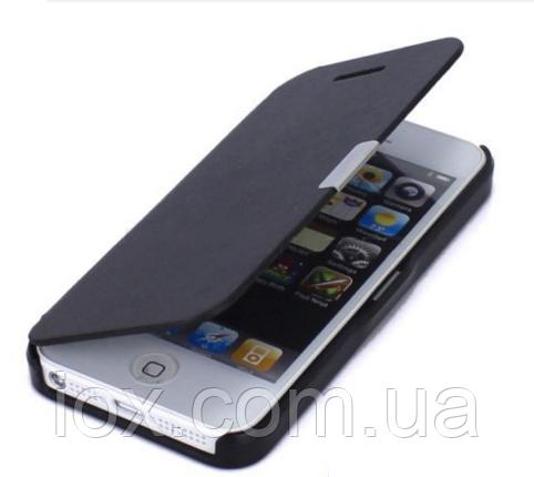 Черный чехол-книжка на магнитной застежке для Iphone 5/5S