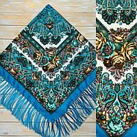 Стильный бирюзовый платок для девушек(120х120см, синий, 80%-шерсть)