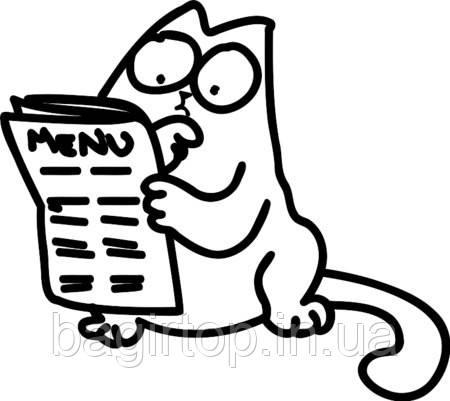 Виниловая наклейка-Кот с газетой