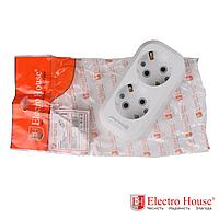ElectroHouse Колодка 2 гнезда с заземлением