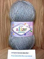 Детская пряжа(100%-акрил,100г/320м) Alize Sekerim  bebe 344 (серебряно-серый)