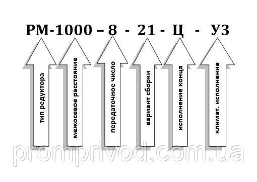 Условное обозначение редуктора РМ-1000-8