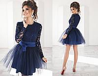 Женское красивое платье MINI с гипюром и фатином 2014 / в расцветках