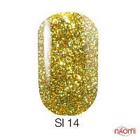 Гель-лак Naomi Self Illuminated SI 14, 6 мл желто-салатовый, с блестками и слюдой, плотный.