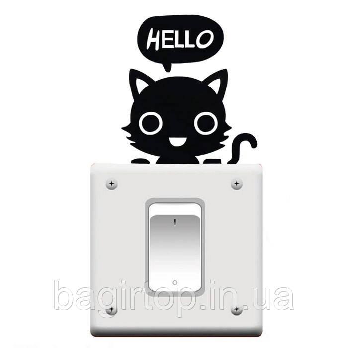 Виниловая наклейка-Кот Hello