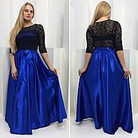 Вечернее платье из атласа в больших (батальных) размерах