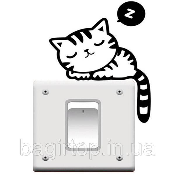 Виниловая наклейка-Кот спит