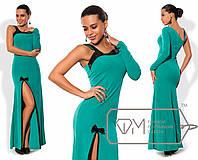 Платье в пол приталенное из креп-дайвинга с асимметричным декольте, высоким разрезом и отделкой пайеткой 8343