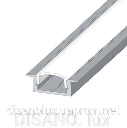 Комплект Профиль  и Рассеиватель  для светодиодной ленты  PL 17 встроенный анодированный