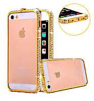 Золотистый алюминиевый бампер с камнями Swarovski для iPhone5 5S