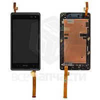 Дисплей для мобильных телефонов HTC Desire 600 Dual sim, Desire 606w, черный, с передней панелью, с сенсорным экраном